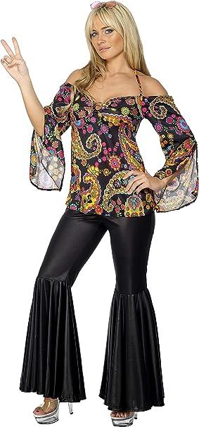 Smiffys Smiffys- Disfraz de Hippy, Chica, con Top Estampado y ...