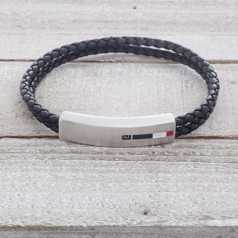 White /& Red Enamel ID Plate Double Stranded Braided Black Leather Bracelet for Men Ben Sherman Stainless Steel Blue