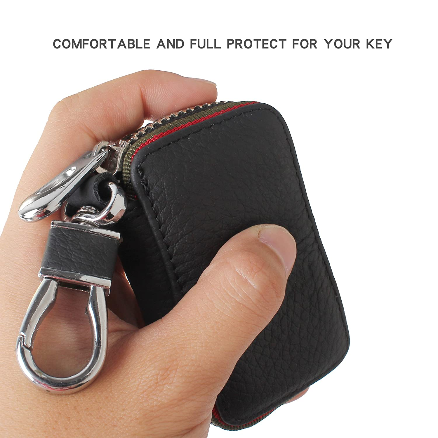 Amooca Black Audi Premium Leather Car Key Chain Coin Holder Zipper Case Remote Wallet Bag YSB001