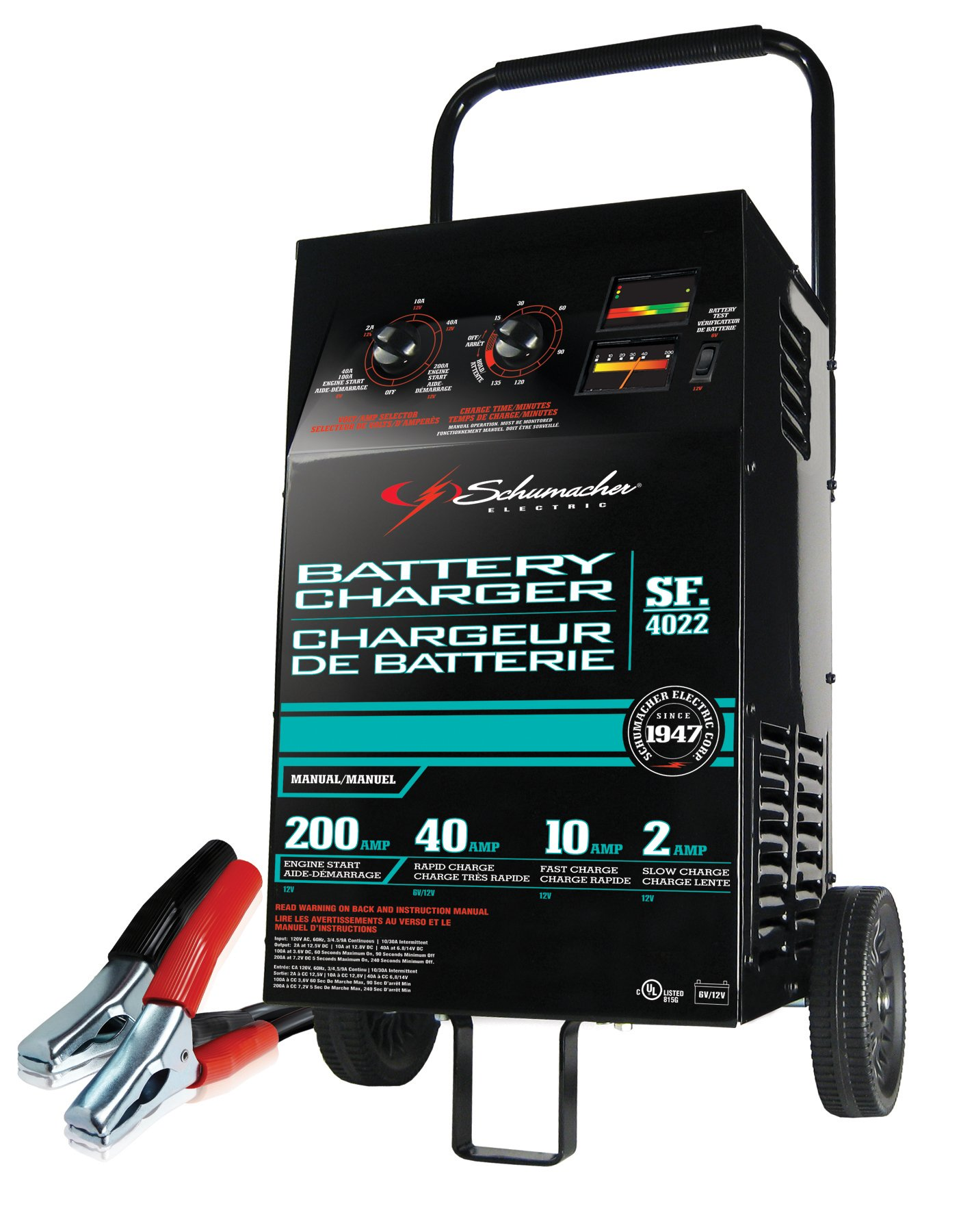 Schumacher SF-4022 6/12V Manual Wheel Battery Charger with Engine Start