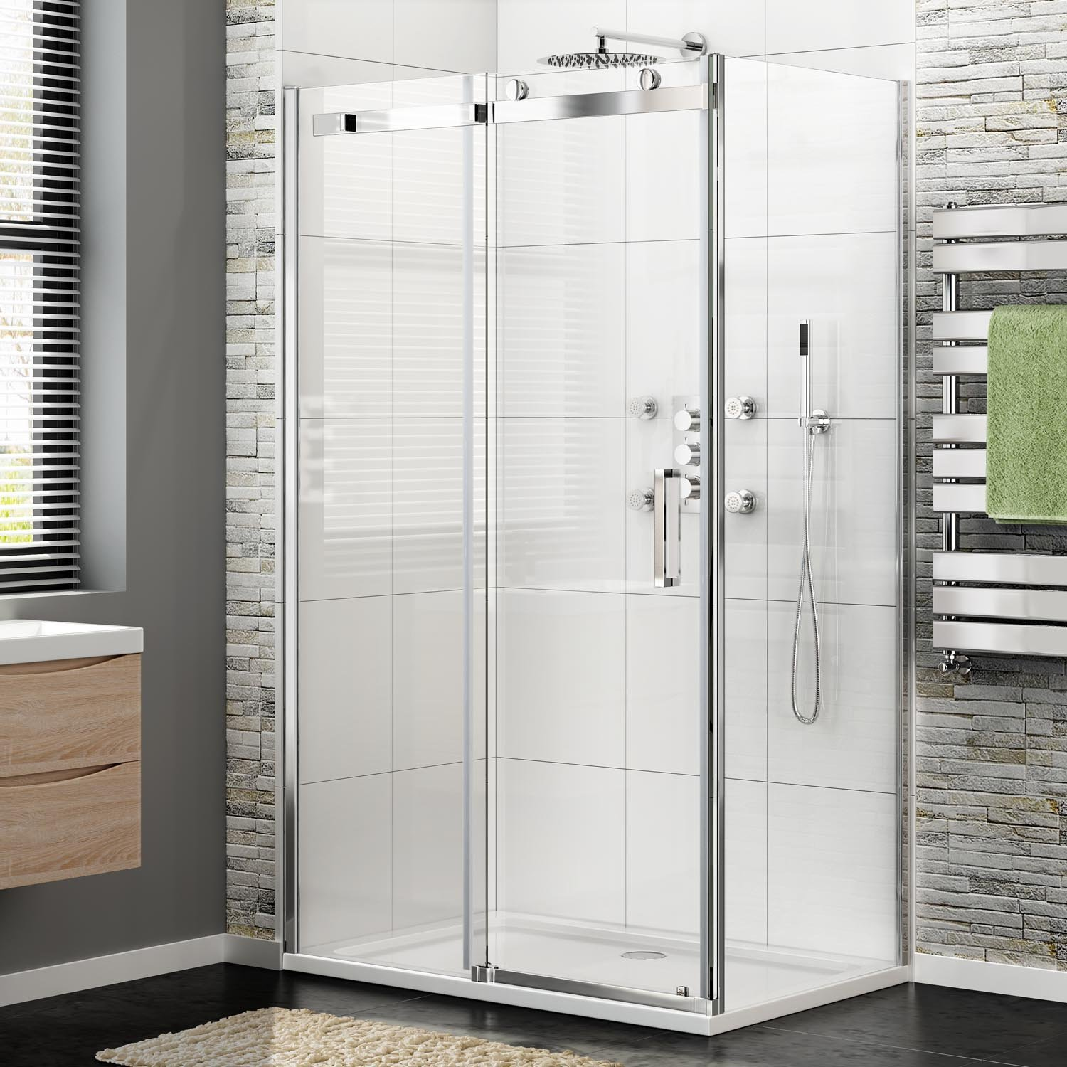iBathUK 1100 x 800 Frameless 8mm Sliding Easy Clean Glass Shower ...
