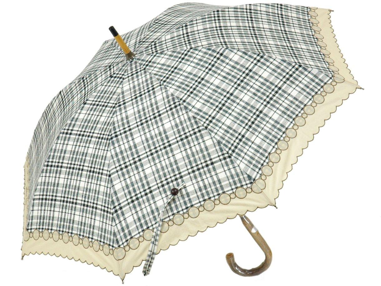 CHRISTIAN AUJARD チェック柄ショートパラソル。モノトーンのチェック柄にボーダーがあしらわれたおしゃれな日傘。