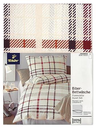 Tcm Tchibo Biber Bettwäsche Garnitur 2tlg Creme Rot Braun Kariert