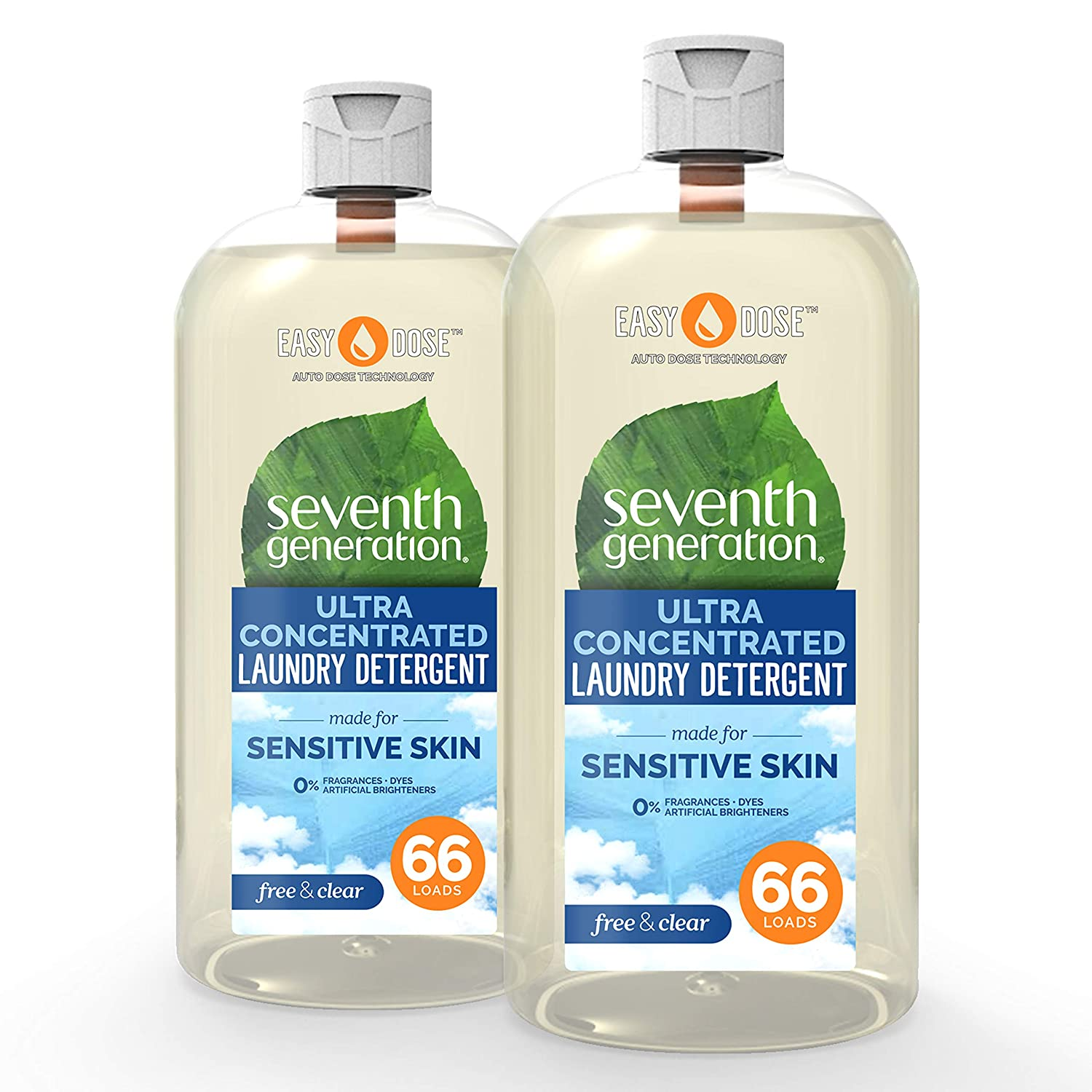 Seventh Generation Laundry Detergent Ultra Concentrated EasyDose, Free & Clear, 23 oz, 2 Pack (132 Loads)