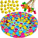 Carnival Games - Duck Pond Pool with 20 Duckies & 12 Duck Beak Whistles - Pond Game - Matching Game by Tigerdoe