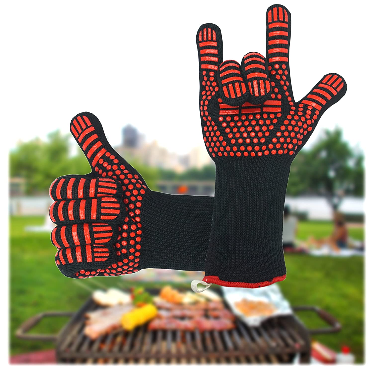 BBQ Gloves Heat Resistant, Oven Gloves with Fingers, Heave Duty Silicone Oven Gloves for Barbecue, Cooking, Baking, Grilling, BBQ D.E. E-Commerce Ltd.