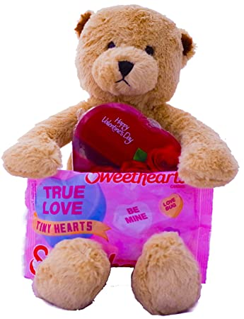 Valentines Day Gift Teddy Bear Plush, Chocolate and Sweethearts Candy - Best Present For Girlfriend