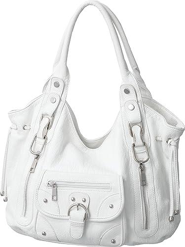 Amazon.com  Laurel Sunset Trisha White Utilitarian Hobo Slouchy Shoulder Bag   Shoes 27e5ecb1f6e2d