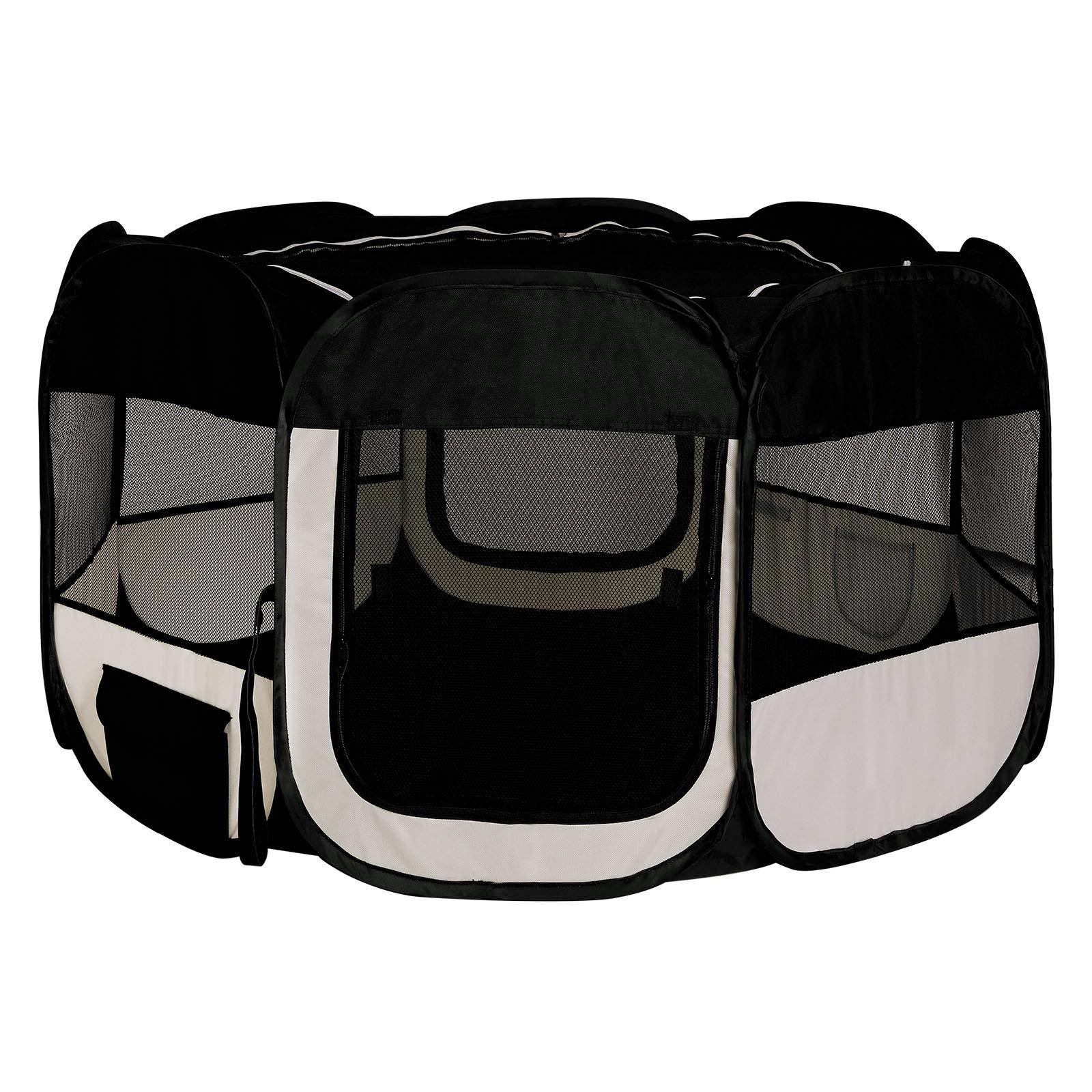 Dibea Pp00255 Puppy Play Pen Outdoor Enclosure for Indoor and Outdoor Use Black/Beige by Dibea