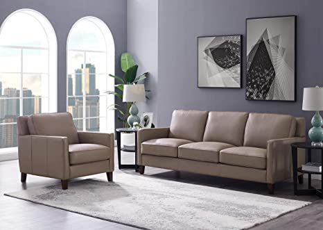 Hydeline Ashby 100% Leather Sofa Set (Sofa, Chair, Taupe)