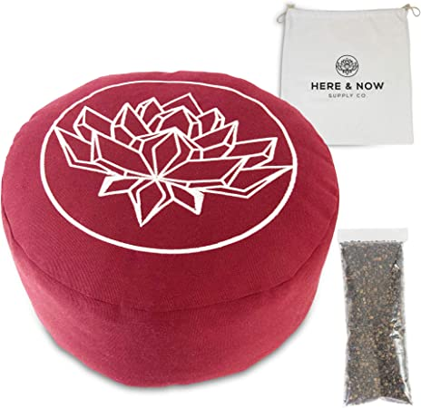 Here & Now Supply Co. Buckwheat Hull Filled Meditation Cushion | Floor Pillow Bolster | Carrying Case Included (Red, 13