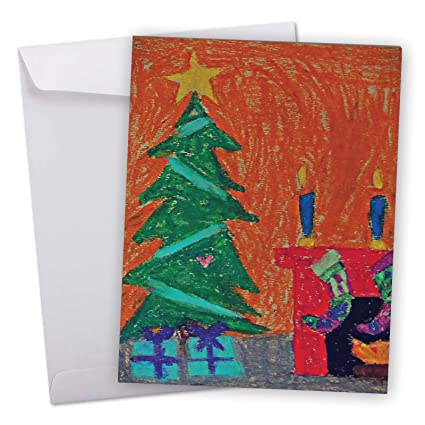 Amazon j6739cxsg jumbo merry christmas greeting card j6739cxsg jumbo merry christmas greeting card christmas coloring featuring a sweet childrens drawing of m4hsunfo