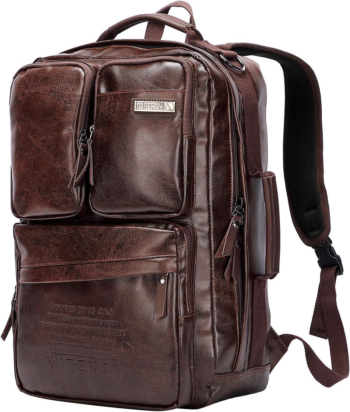 WITZMAN Men Travel Backpack Vintage Laptop Bag Rucksack Casual Daypack Convertible Duffel Knapsack A6631 Nut Brown