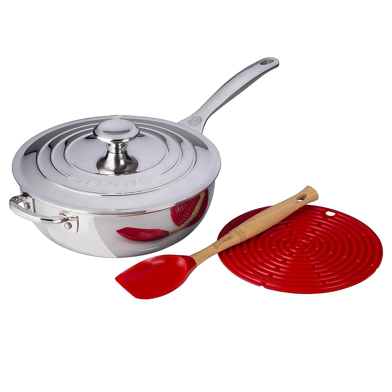 Le Creuset Cherry 4 piezas en acero inoxidable 3,5 quart cacerola de la Chef Holiday Bundle Set: Amazon.es: Hogar