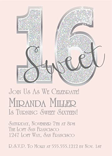 Pink Diamonds Sweet 16 Birthday Party Invitations Bling