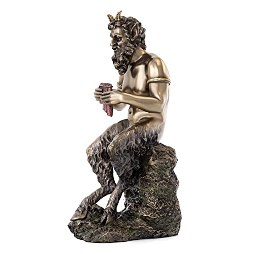 Top Collection Pan the Faun Statue-Greek Mythology God of Wild Nature Sculpture in Premium Cold Cast Bronze- 9.5-Inch Collection Figurine