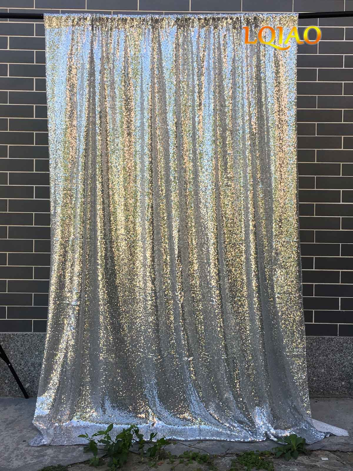 LQIAO Wedding Christmas Backdrop Glitter Silver 4FTx10FT Sequin Backdrop Window Curtain Photo Booth Photography Party Decoration