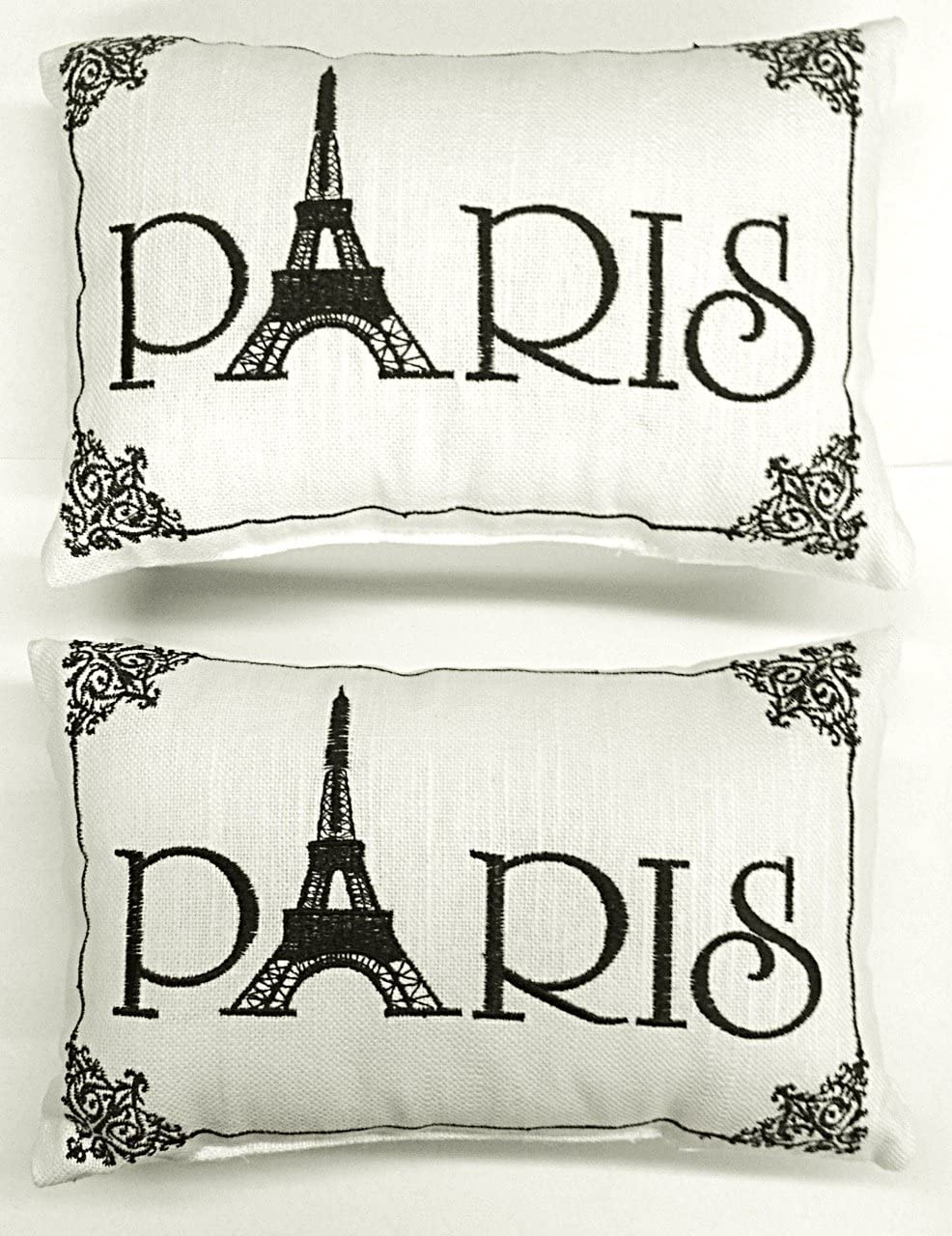 C F Paris – Small Cute Accent Pillows – Set of 2- Embroidered with Ornate Stitching