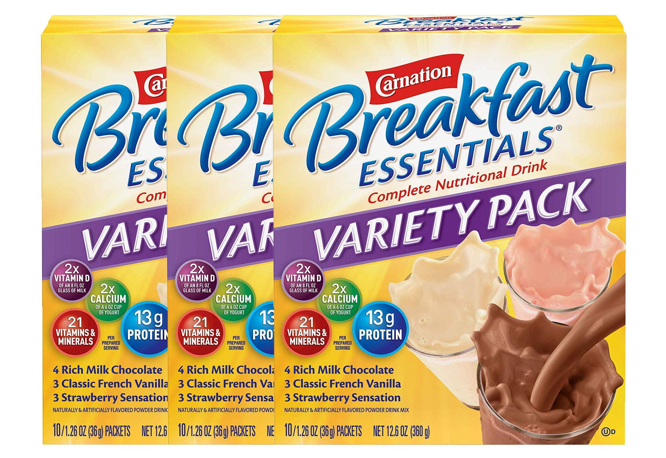 Carnation Breakfast Essentials Powder Drink Mix Variety Pack, Complete Nutritional Drink, 10 Count Box of 1.26 oz Packets (Pack - 3) by Carnation Breakfast Essentials