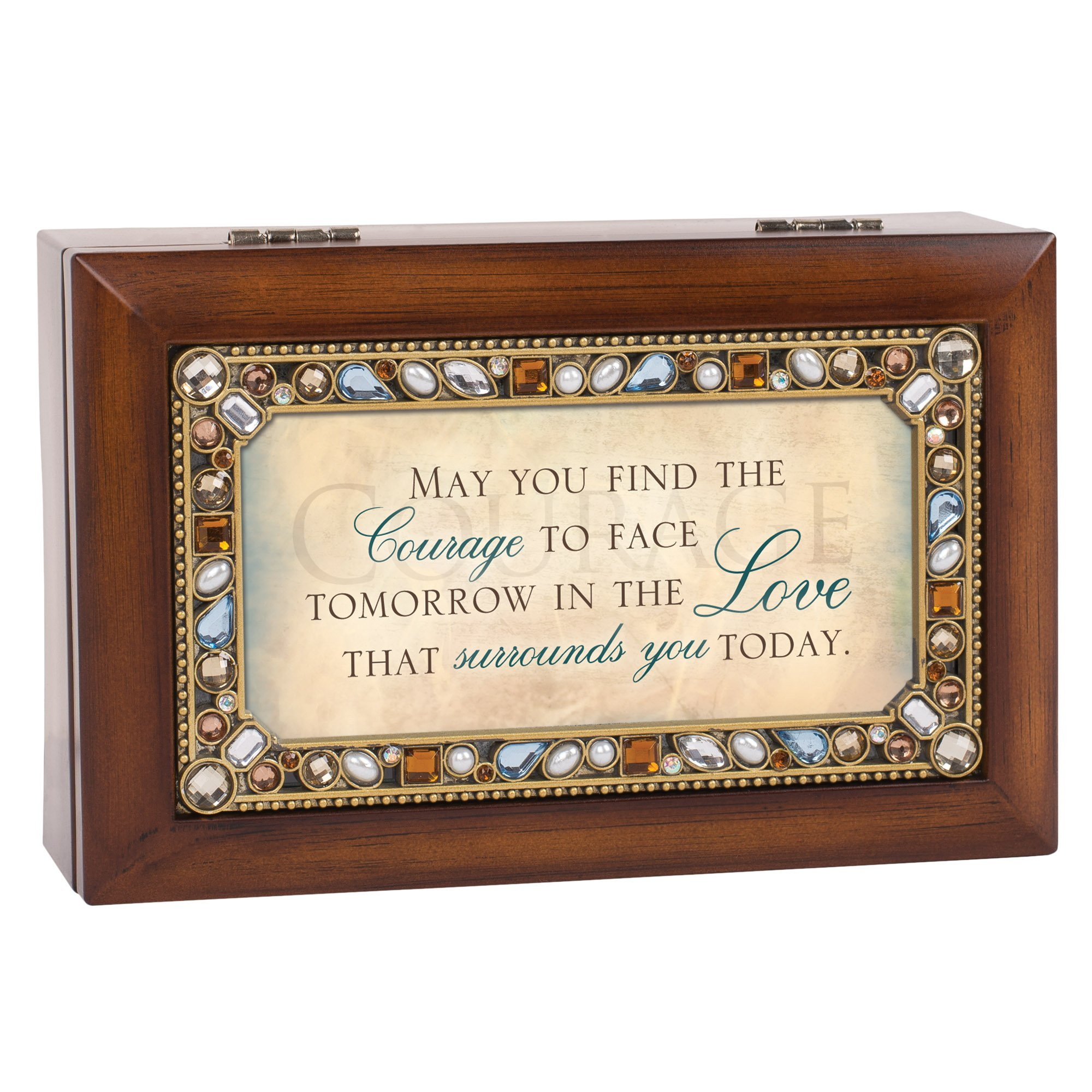 May You Find The Courage Jeweled Woodgrain Jewelry Music Box - Plays Tune Wind Beneath My Wings by Cottage Garden (Image #3)