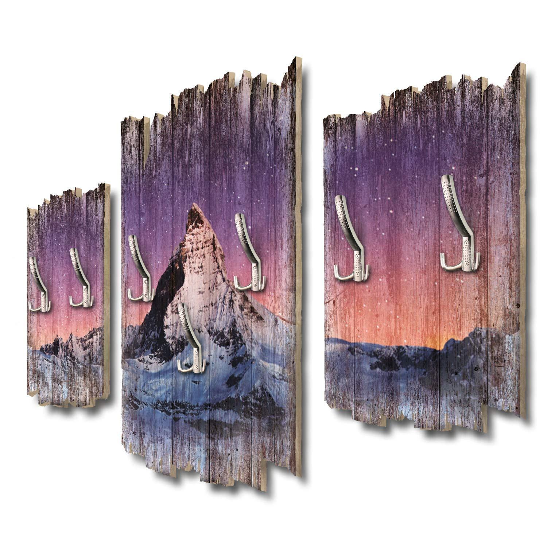 Kreative Feder Sternenhimmel Matterhorn Designer Wandgarderobe Flurgarderobe Wandpaneele 95 x 60 cm aus MDF DTGH099