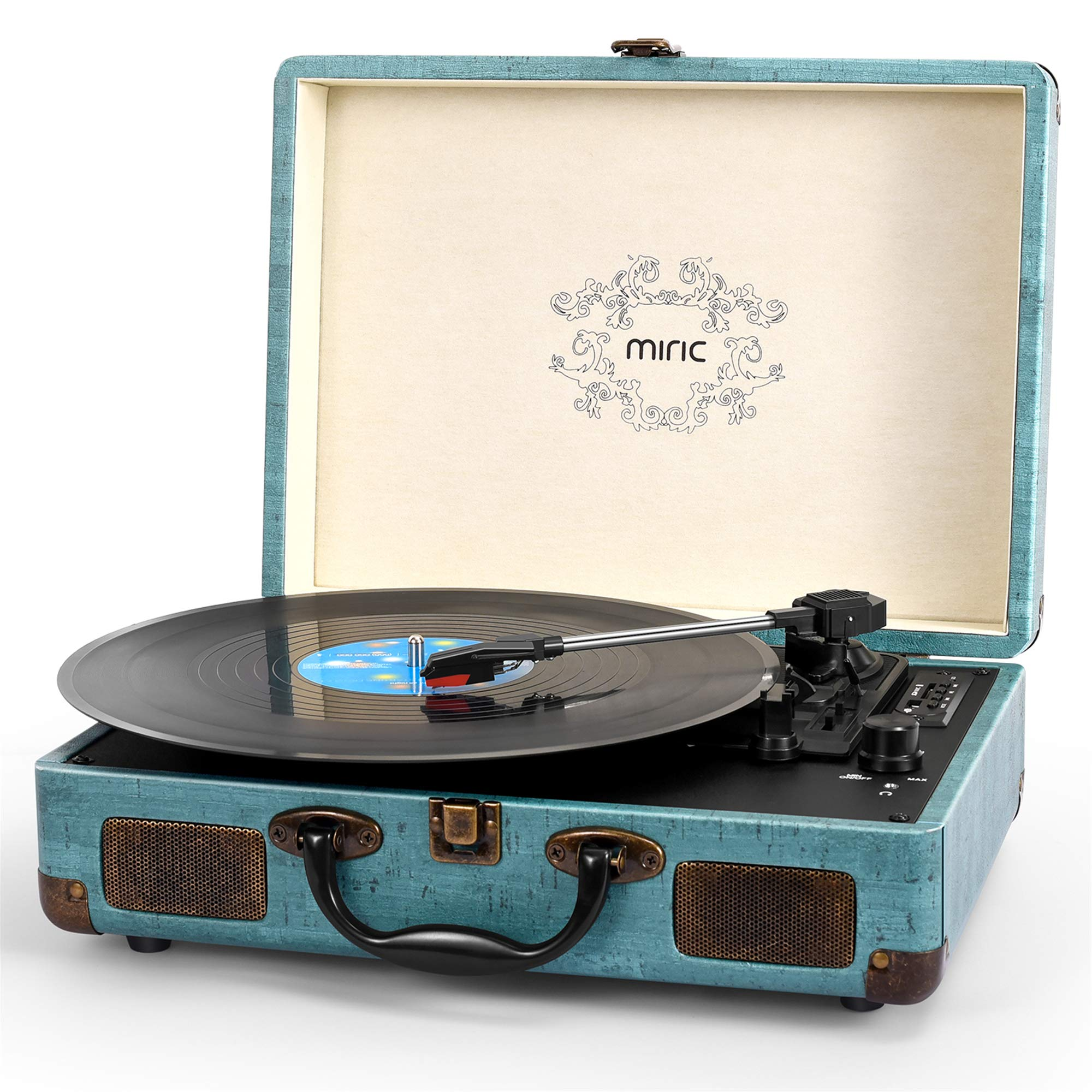 Record Player, Miric Bluetooth Turntable with 2 Built-in Speakers, Portable Size, 3-Speed, for 7/10/12inch Vinyl Records, Equipped USB/SD/AUX Port, Support Transcription, Suitcase Design