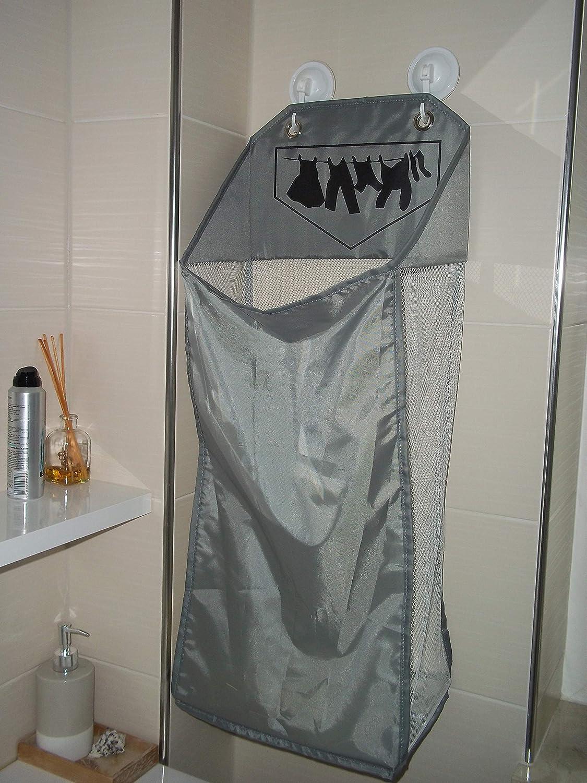 TOPP19u hängender Wäschekorb für Badezimmer, grau, platzsparender Kleiner  Wäschesammler für 190 Ltr / 19 kg Wäsche, 19x19x19 +19 cm, mit 19 Türhaken + 19