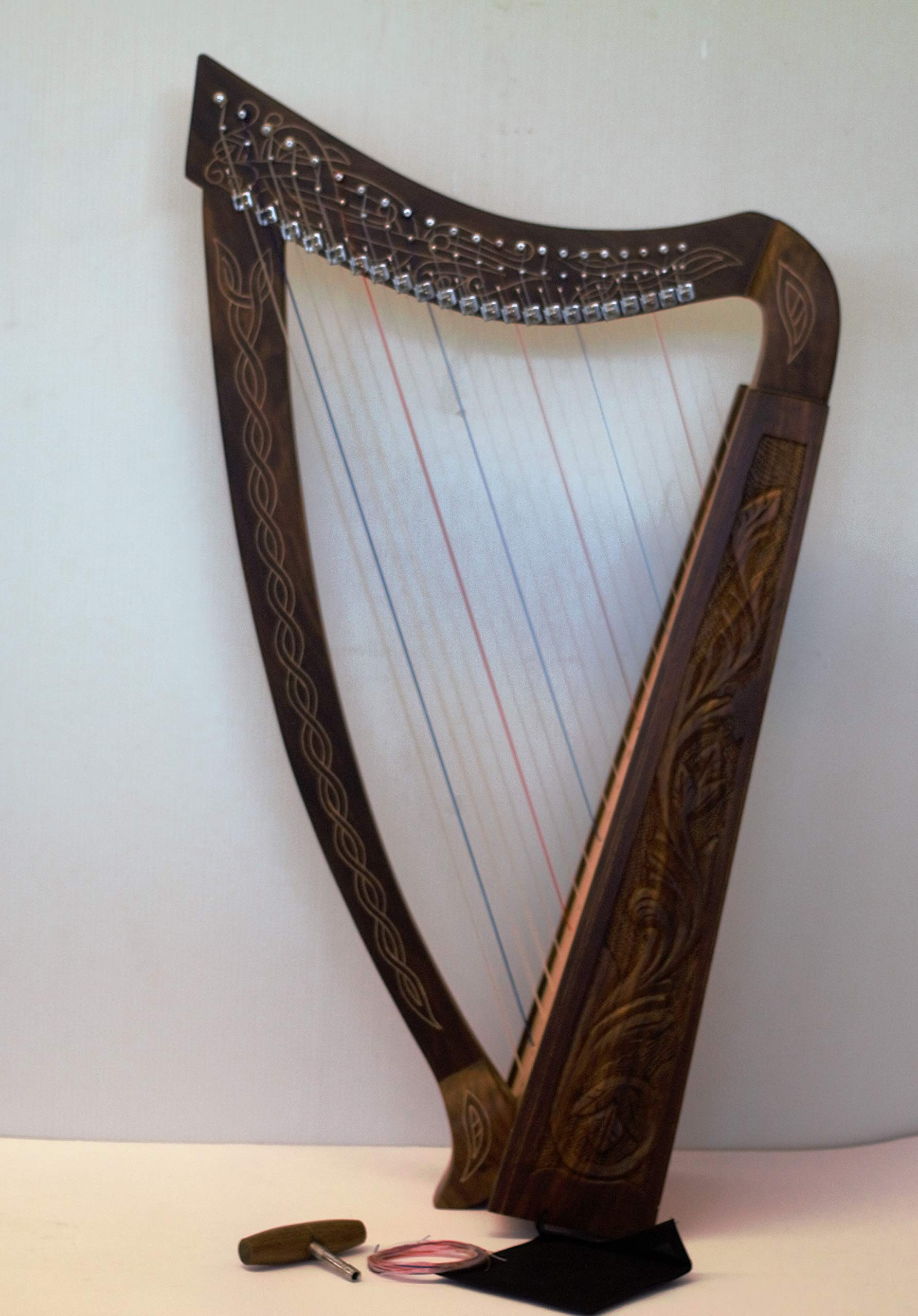Tall Celtic Irish Rose Harp 22 Strings Solid Wood with Metal Levers - Bag -Extra Strings