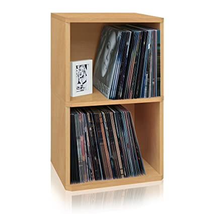 2 Shelf Vinyl Record Storage Cube And LP Record Album Storage Shelf, Natural