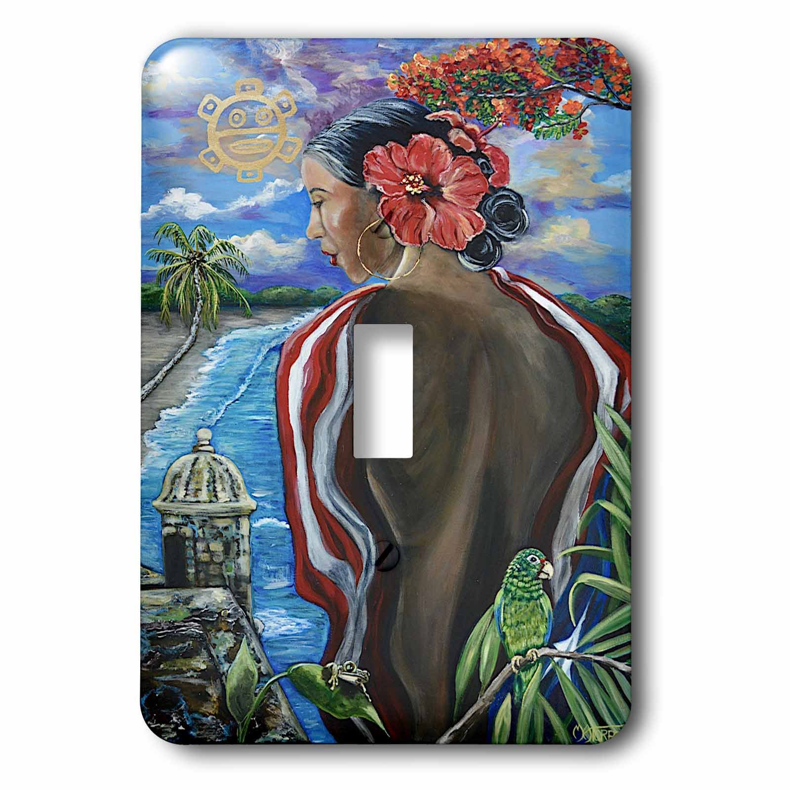 3dRose Melissa A. Torres Art Puerto Rican Art - Image of Woman with Puerto Rican imagery - Light Switch Covers - single toggle switch (lsp_261559_1)