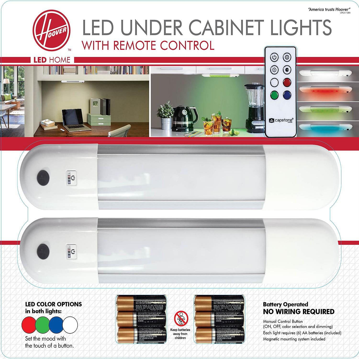 Hoover Led Color Changing Under Cabinet Light Fixture W Remote Home Wiring Control 2 Pack
