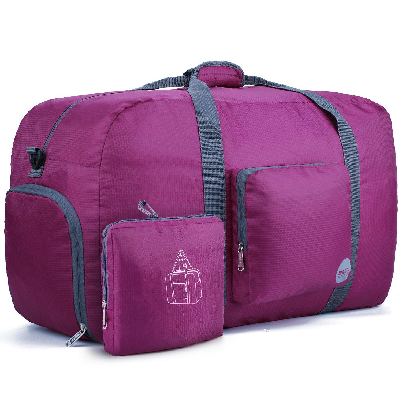 WANDF 85L Foldable Travel Duffel Bag Luggage Sports Gym Water Resistant Nylon (Plum)
