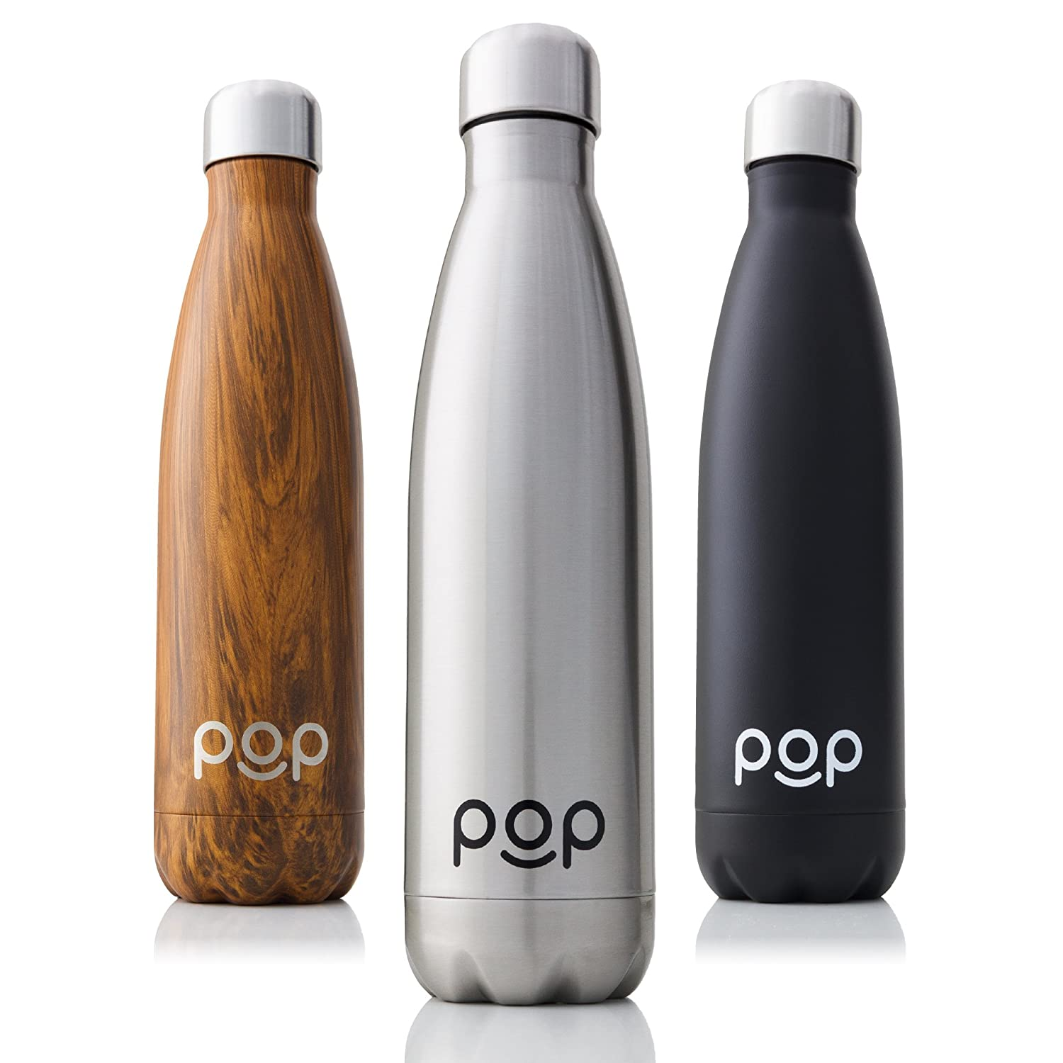 POP Design Stainless Steel Vacuum Insulated Water Bottle | Keeps Cold 24hrs. or Hot for 12hrs. | Sweat & Leak-Proof | Narrow Mouth & BPA Free | 17 Oz (500ml) or 25 Oz (740ml) | 3 Colors