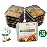 [10 pack] 3 Compartment BPA Free Meal Prep Containers. Reusable Plastic Food Containers with Lids. Stackable, Microwavable, Freezer & Dishwasher Safe Bento Lunch Box Tupperware Set + EBook [1L]