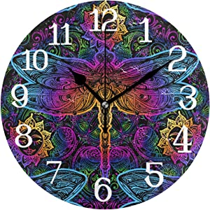 Wall Clocks Indian Mandala Paisley Dragonfly Silent Non Ticking Digital Wall Clock Battery Operated Round Clocks for Kids Kitchen Bathroom Living Room Decorative School Home Bedroom Office