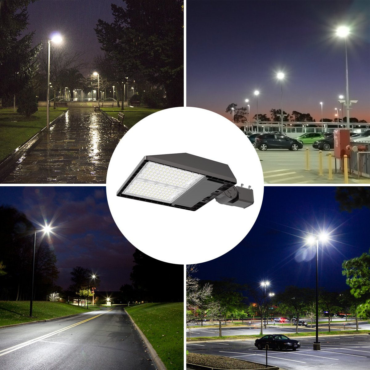 Led Parking Lot Lighting 200 Watt Adiding Street Area Shoebox Pole Light with Photocell Sensor 3-Type Mountings Lumileds LED 26000Lm Daylight 5700K Bright White Light Shorting Circuit Cap IP66 UL DLC