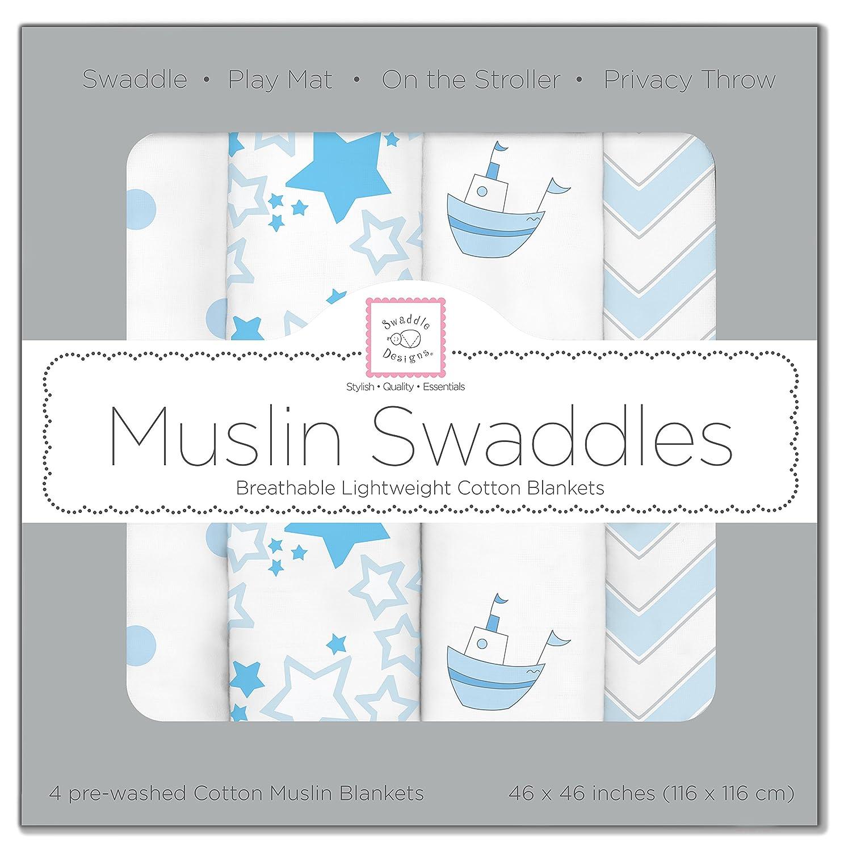 SwaddleDesigns Mantas Envolventes Muselina de Algodón, Barquitos, Azul pastel, Set de 4 SDM-108PB