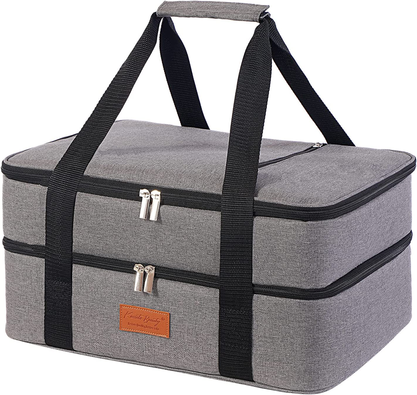 Lunch Bag Insulated Thermal Food Carrier Insulated Double Decker Casserole Carrier for Hot or Cold Food,Insulated Tote Bag for Potluck Cookouts/Picnic,Lasagna Holder,Fits 9