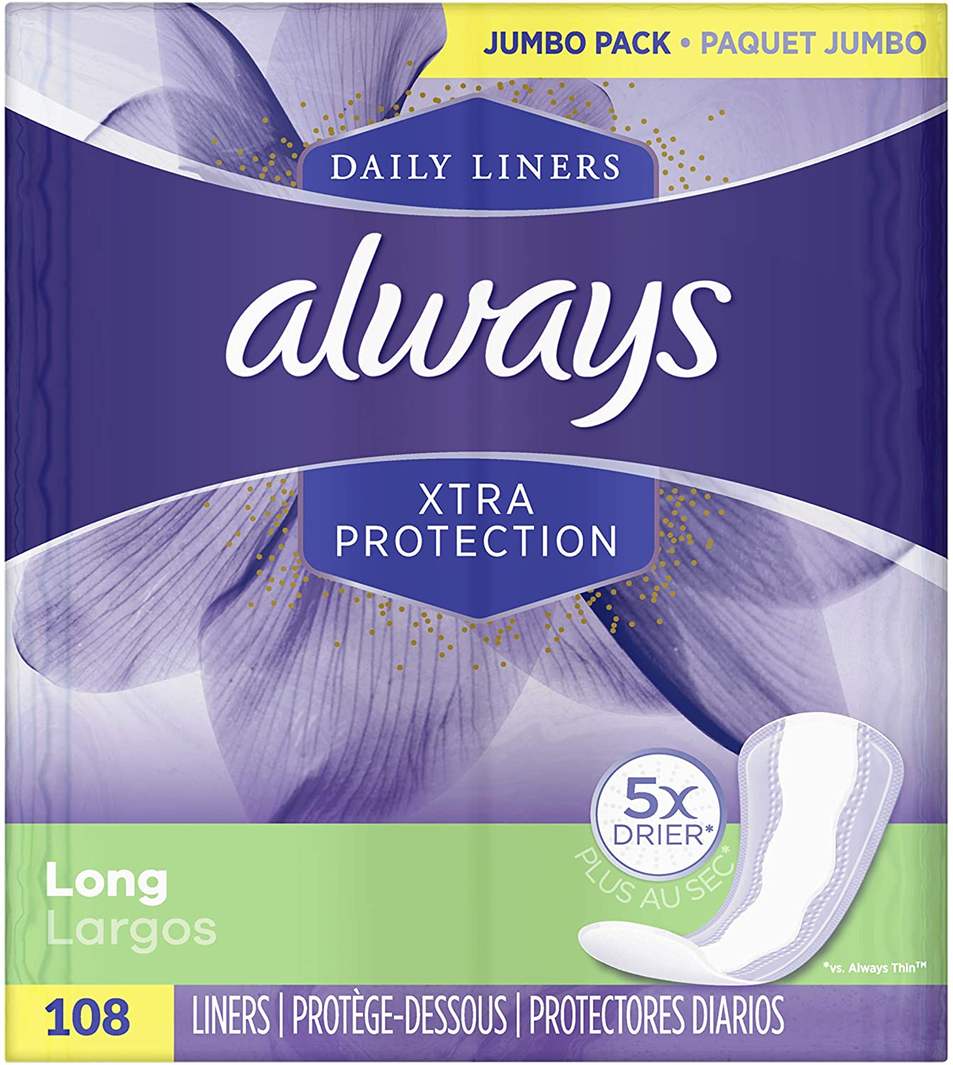 Always Xtra Protection Long Daily Liners Unscented 108 Count