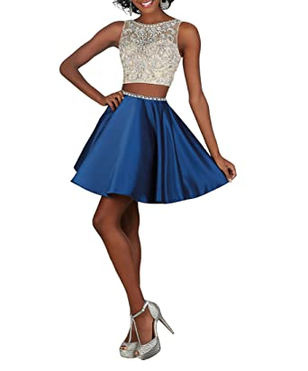 2 Piece Beaded Net and Satin Prom Dress A Line Blue Short Home Coming Dress