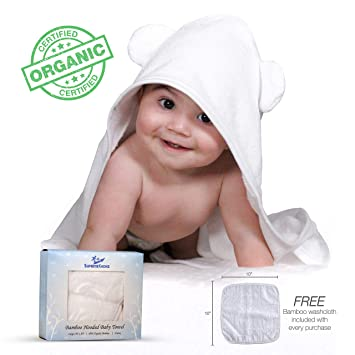Premium Bamboo Hooded Baby Towel and Washcloth Set: Organic, Ultra Soft Antibacterial and Hypoallergenic