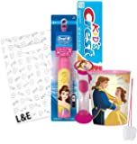 """Beatuy and the Beast """"Belle"""" 4pc Bright Smile Oral Hygiene Set! Turbo Powered Toothbrush, Toothpaste, Brushing Timer & Mouthwash Rinse Cup! Plus Bonus """"Remember To Brush"""" Visual Aid & Gift Bag!!"""