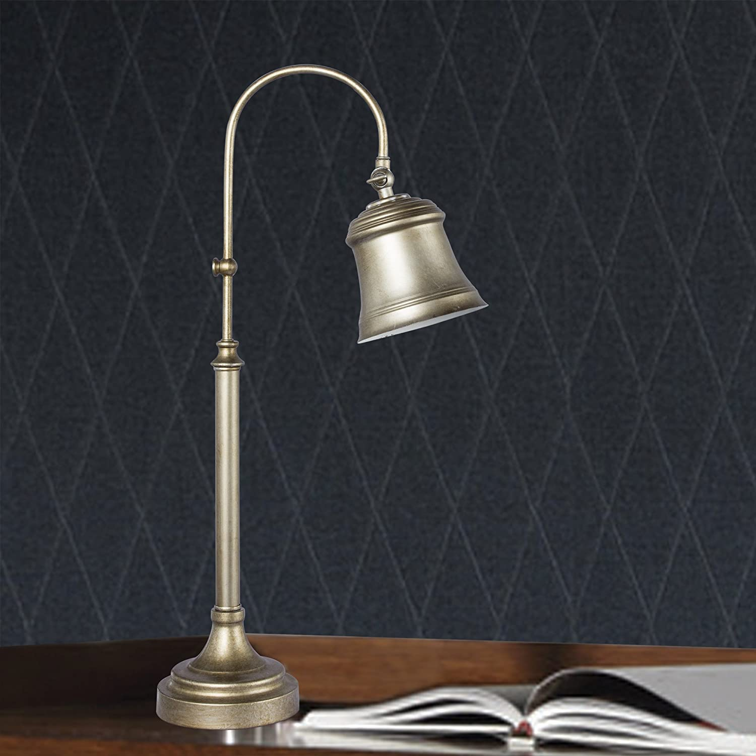 Antique Gold Fangio Lighting 1429AG Traditional Metal Task Lamp with Matching Metal Shade 25-Inch