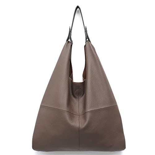 6d19a8115c STEPHIECATH Women s Handbag Genuine Leather Slouchy Hobo Shoulder Bag Large  Casual Soft Handmade Tote Bags Ladies