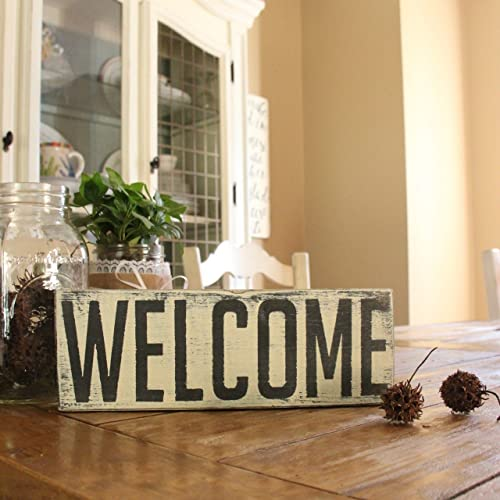 Amazon WELCOME Small Wood Shelf Sitter Sign Farmhouse Table Interesting Fal Wood Furniture Decor