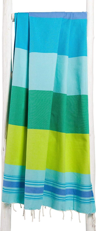 ZusenZomer Fouta Playa Casablanca Azul y Verde | Toalla Hammam XL, 100 x 190 cm | 100% Algodón Diseño Exclusivo: Amazon.es: Hogar