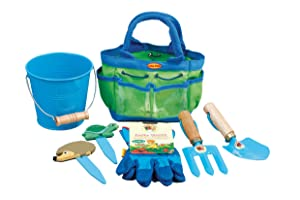 Tierra Garden 7-LP381 Little Pals Kids Junior Garden Kit with Hand Trowel, Hand Fork, Gloves, Plant Markers, and Bucket, Blue