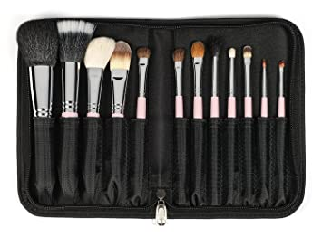 sedona lace brushes. sedona lace travel 12 piece professional makeup brushes - pink