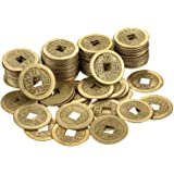 Hestya 100 Pieces 1 Inch Chinese Fortune Coins Feng Shui I-Ching Coins Chinese Good Luck Coins Ancient Chinese Dynasty Time Coin