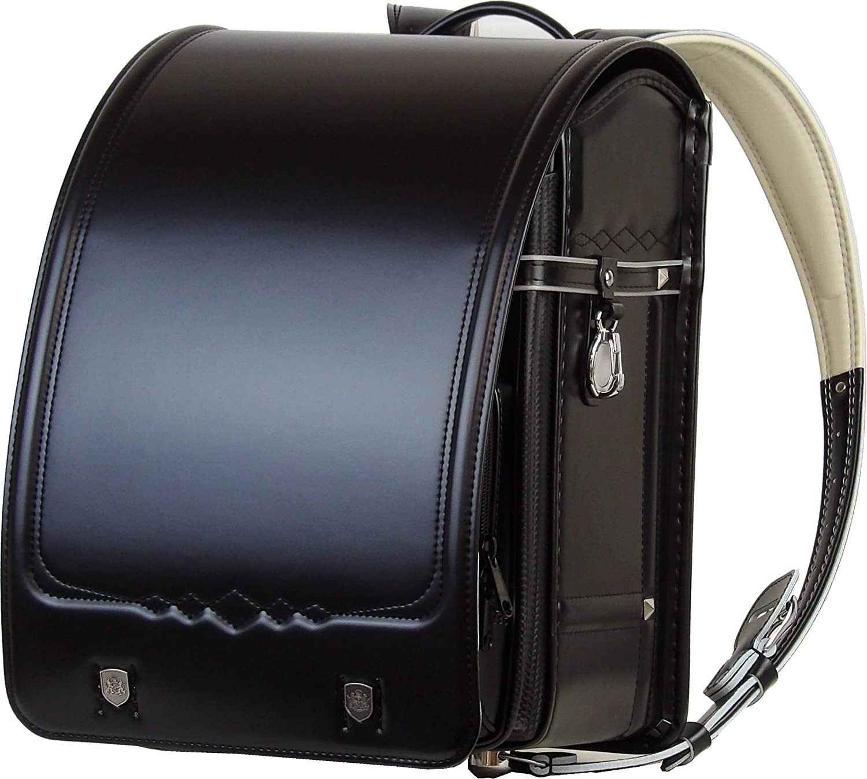 2019継続モデル フィットちゃん エンブレム ランドセル カーボンスタッズモデル 黒(本体)×ブラック(ステッチ)  程よい艶モデル A4ポケットファイル 対応ワイドサイズ B0765QNQHF